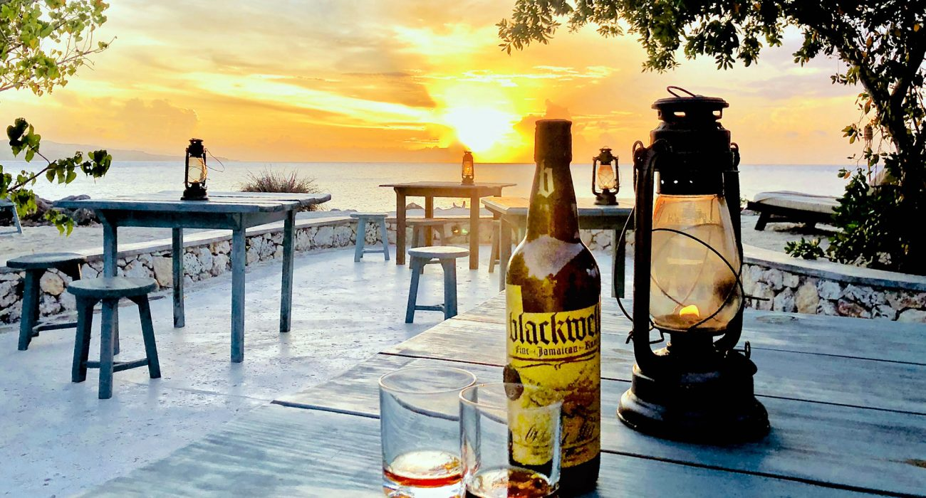 Blackwell Rum on the GoldenEye patio. Courtesy Blackwell Rum.