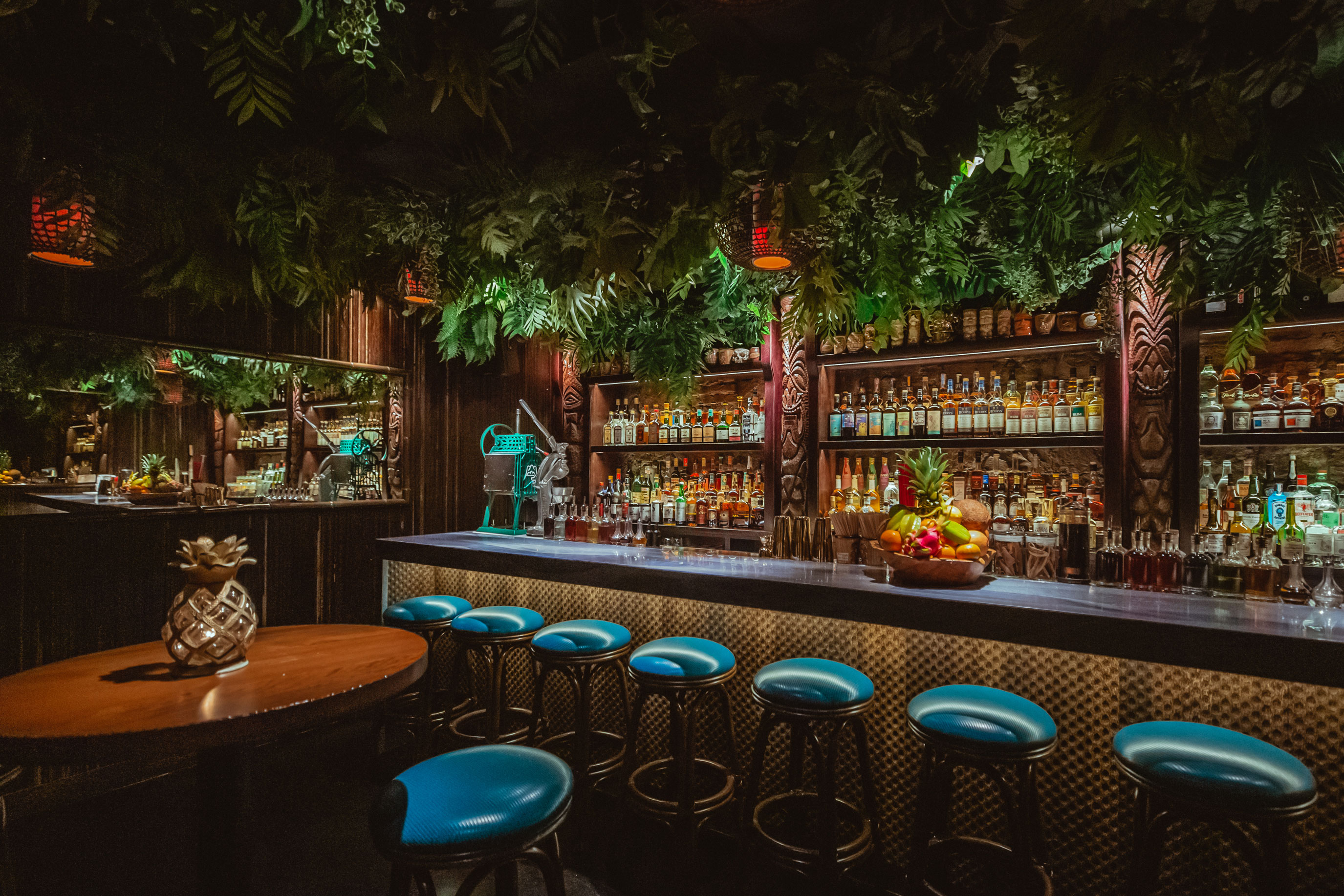 The lush Bamboo Room at Three Dots and a Dash. Courtesy Lettuce Entertain You.