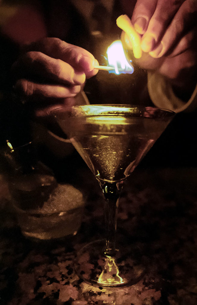 DeGroff lights another Flame of Love at Blackbird. Photo by Barbara Alper.