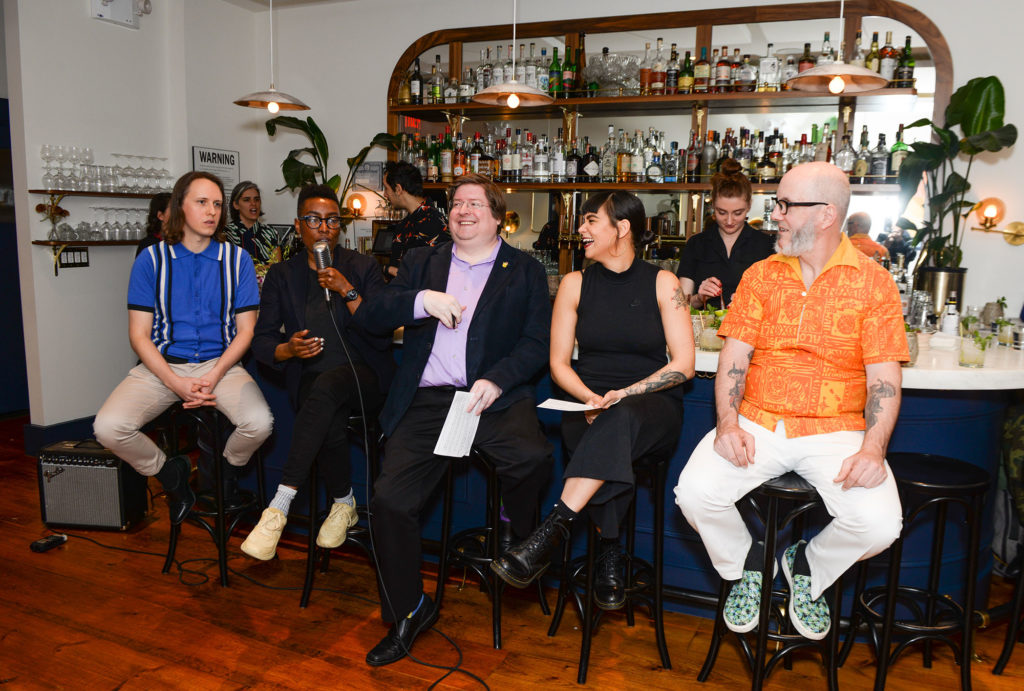 "We had fun. The panel, l. to r.: Garret Richard, Shannon Mustipher, Ben Schaffer, Natasha Bermudez, ""Tiki"" Adam Kolesar. Photo by Winston Rodney."