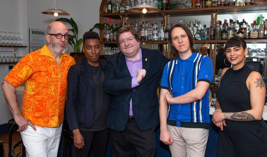 """Our panel, l. to r.: """"Tiki"""" Adam Kolesar, Shannon Mustipher, Ben Schaffer, Garret Richard, Natasha Bermudez. Photo by Winston Rodney."""