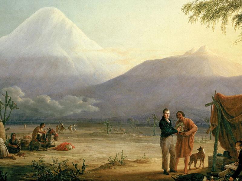 """""""Alexander von Humboldt und Aimé Bonpland am Fuß des Vulkans Chimborazo (Alexander von Humboldt and Aimé Bonpland at the foot of the Chimborazo volcano),"""" 1806. Painting by Friedrich Georg Weitsch (1758–1828)."""